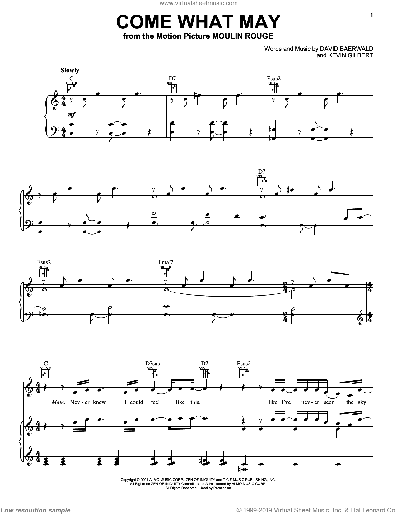 Come What May sheet music for voice, piano or guitar by Nicole Kidman and Ewan McGregor, Ewan McGregor, Moulin Rouge (Movie), Nicole Kidman and David Baerwald, intermediate skill level