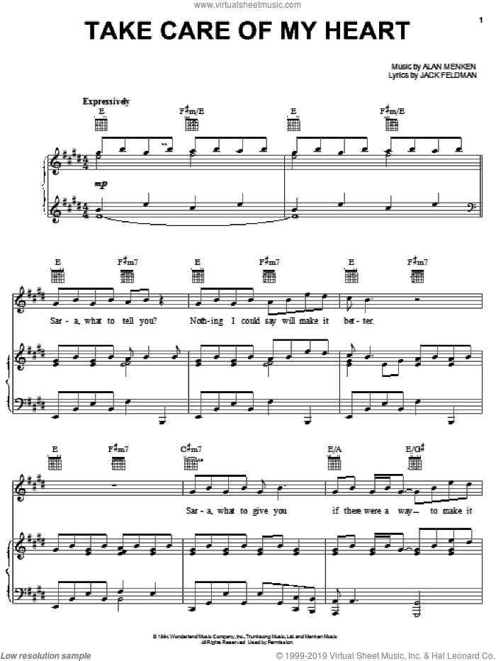 Take Care Of My Heart sheet music for voice, piano or guitar by Jack Feldman and Alan Menken, intermediate skill level