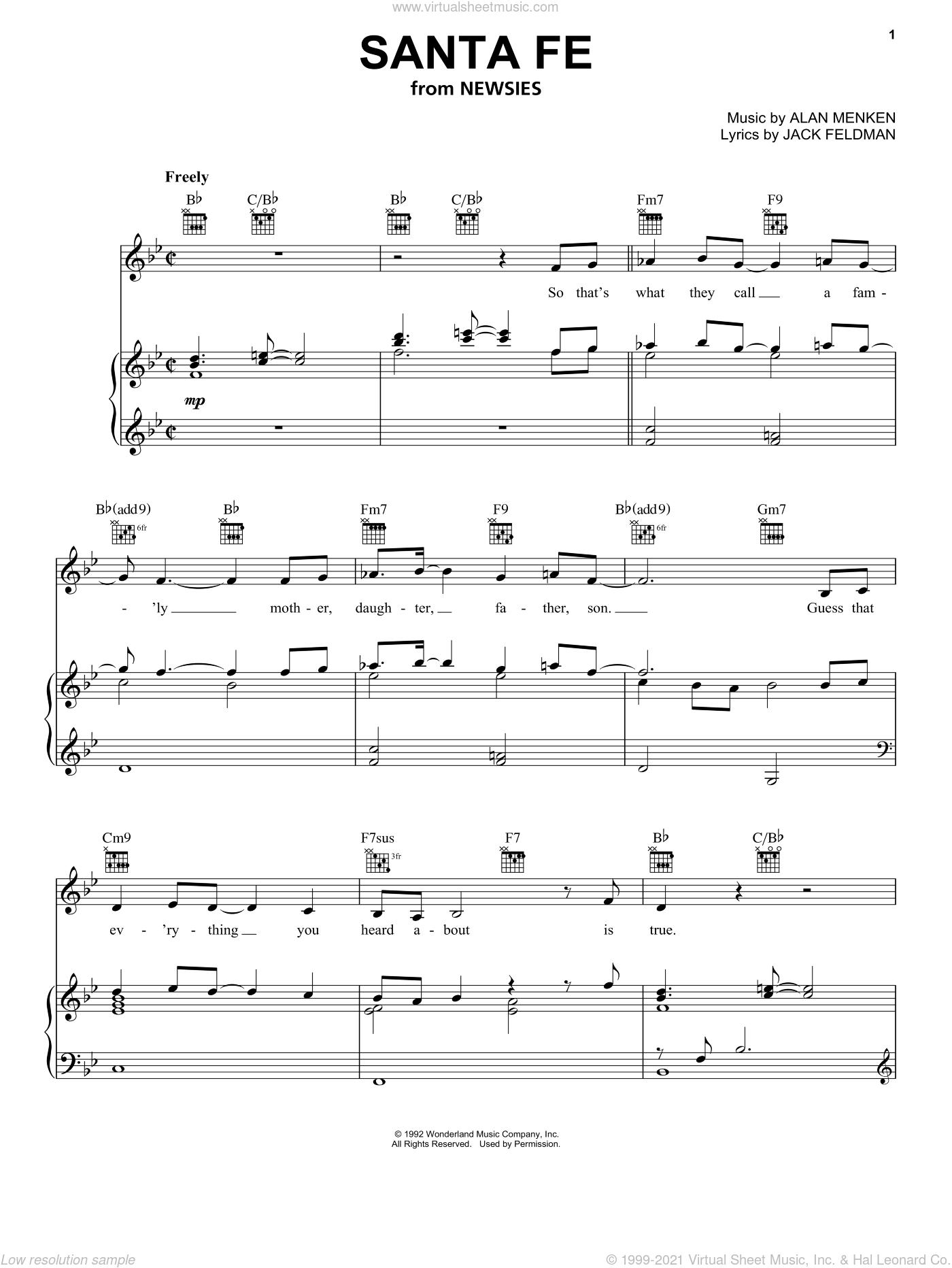 Santa Fe sheet music for voice, piano or guitar by Jack Feldman, Newsies (Musical) and Alan Menken, intermediate skill level