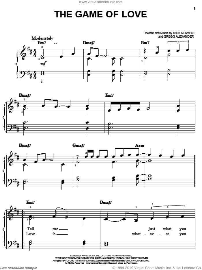 The Game Of Love sheet music for piano solo by Santana featuring Michelle Branch, Gregg Alexander and Rick Nowels, easy skill level