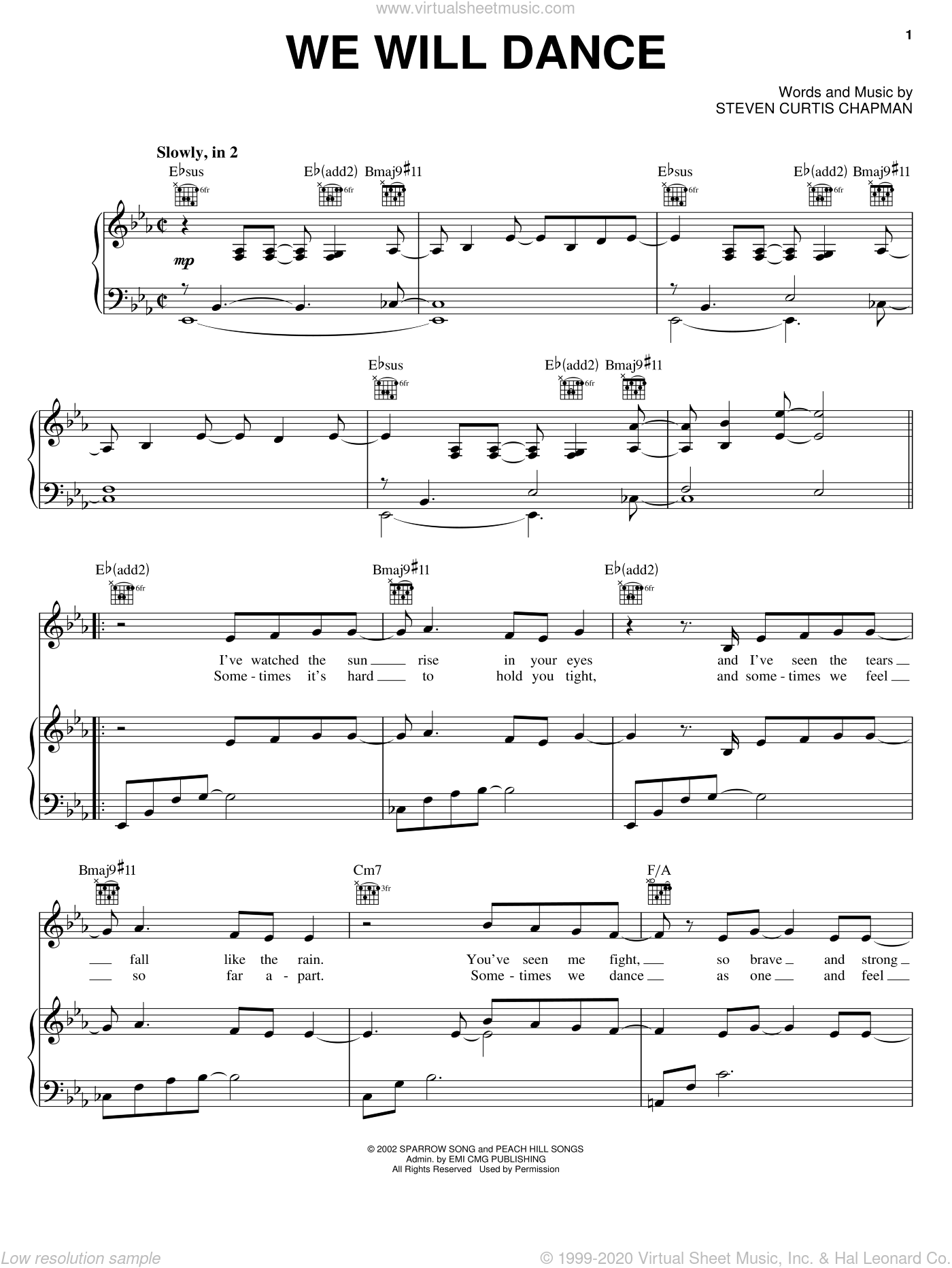 We Will Dance sheet music for voice, piano or guitar by Steven Curtis Chapman. Score Image Preview.