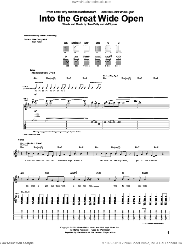 Into The Great Wide Open sheet music for guitar (tablature) by Tom Petty And The Heartbreakers, Jeff Lynne and Tom Petty, intermediate. Score Image Preview.