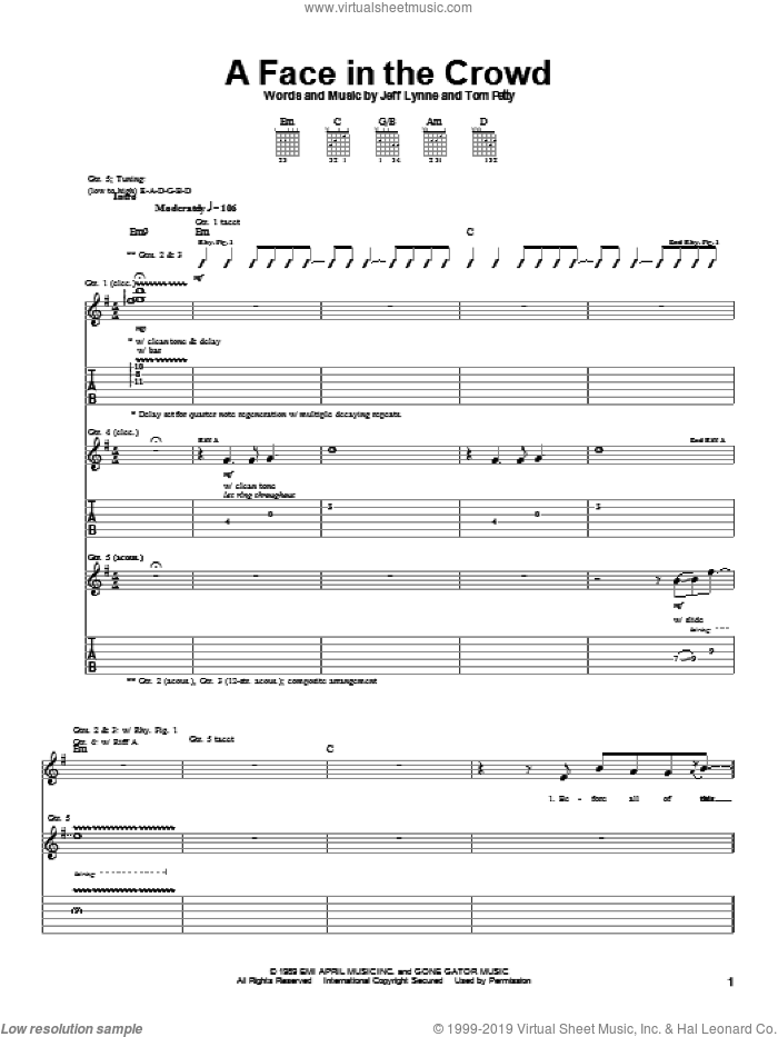 A Face In The Crowd sheet music for guitar (tablature) by Tom Petty and Jeff Lynne, intermediate skill level