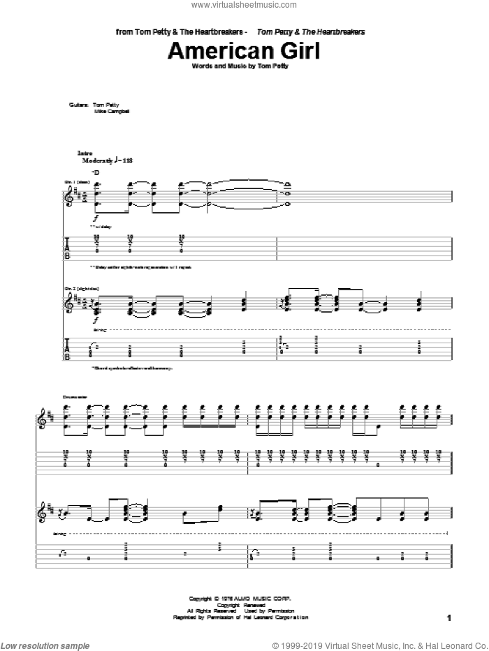 American Girl sheet music for guitar (tablature) by Tom Petty And The Heartbreakers and Tom Petty. Score Image Preview.