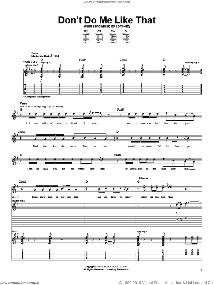 Don't Do Me Like That sheet music for guitar (tablature) by Tom Petty And The Heartbreakers and Tom Petty. Score Image Preview.