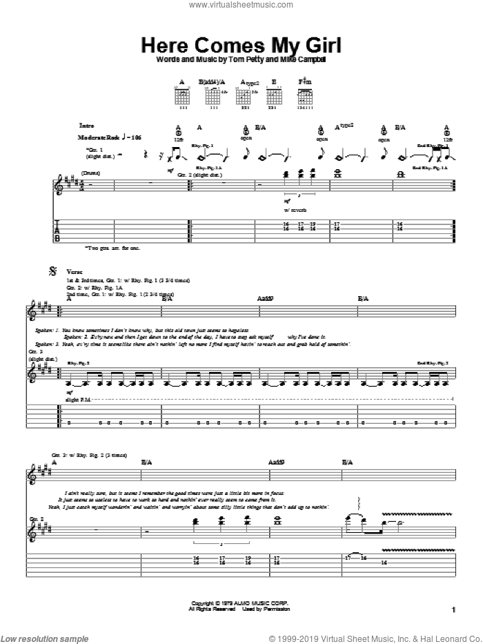 Here Comes My Girl sheet music for guitar (tablature) by Mike Campbell and Tom Petty And The Heartbreakers and Tom Petty. Score Image Preview.