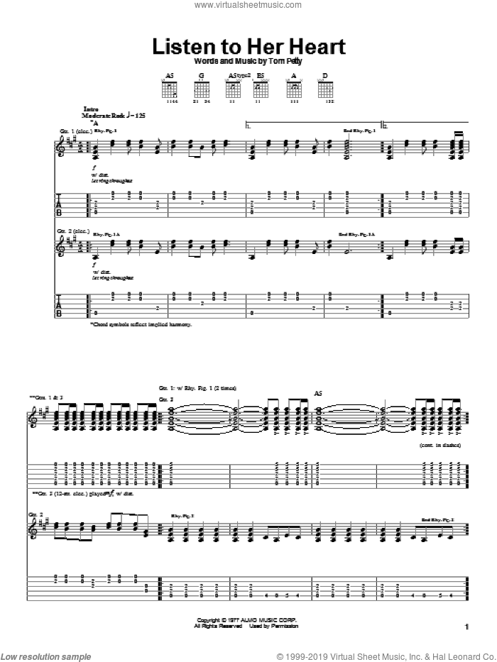 Listen To Her Heart sheet music for guitar (tablature) by Tom Petty And The Heartbreakers and Tom Petty. Score Image Preview.