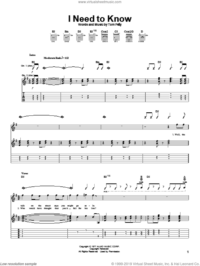 I Need To Know sheet music for guitar (tablature) by Tom Petty And The Heartbreakers and Tom Petty, intermediate. Score Image Preview.