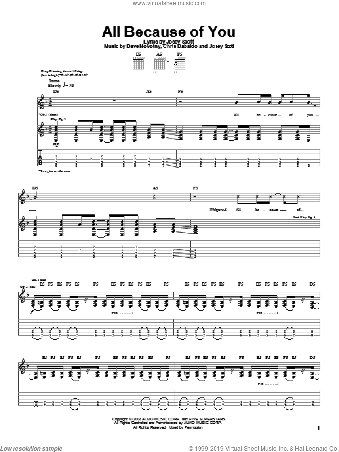 All Because Of You sheet music for guitar (tablature) by Saliva. Score Image Preview.