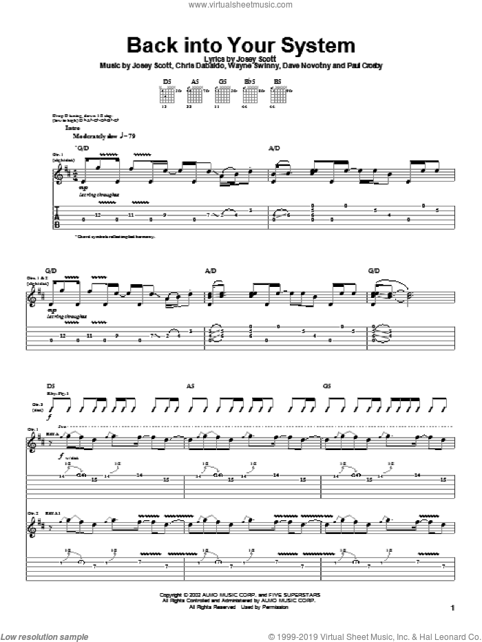 Back Into Your System sheet music for guitar (tablature) by Saliva, intermediate. Score Image Preview.