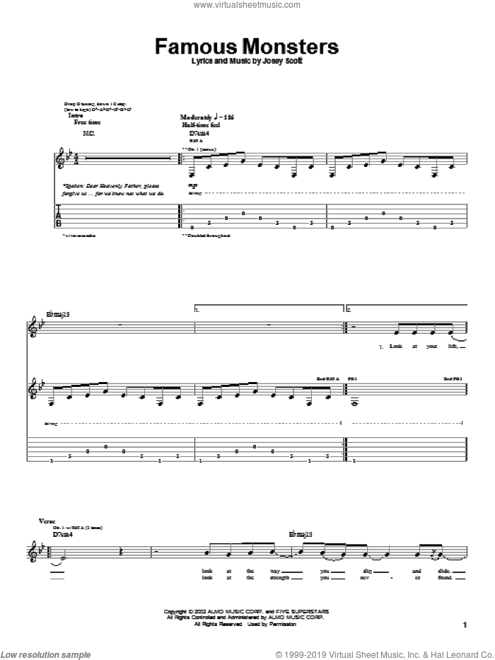 Famous Monsters sheet music for guitar (tablature) by Josey Scott. Score Image Preview.