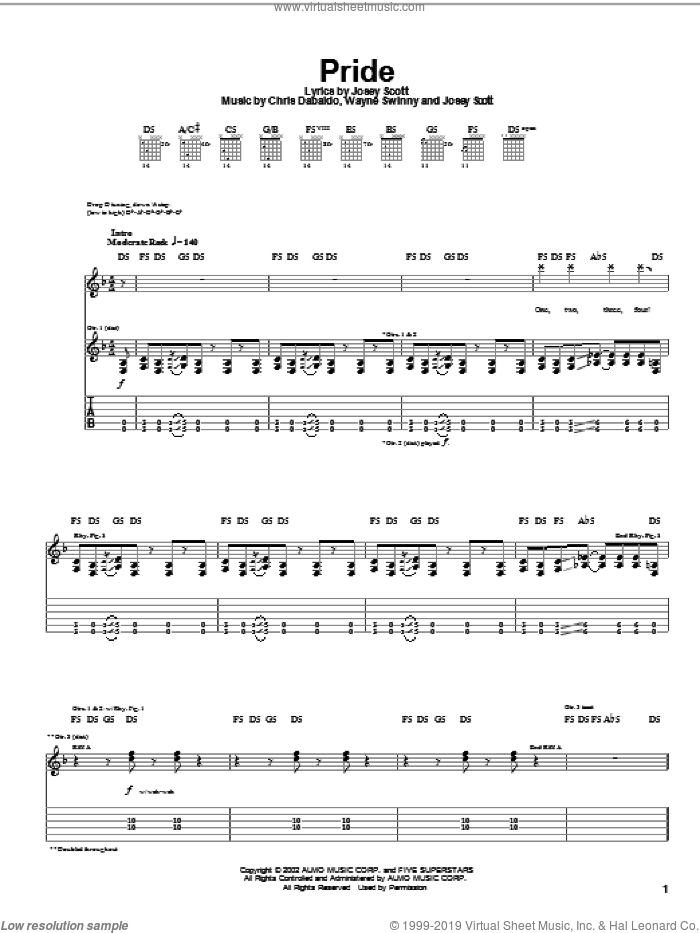 Pride sheet music for guitar (tablature) by Saliva, Chris Dabaldo, Josey Scott and Wayne Swinny, intermediate skill level