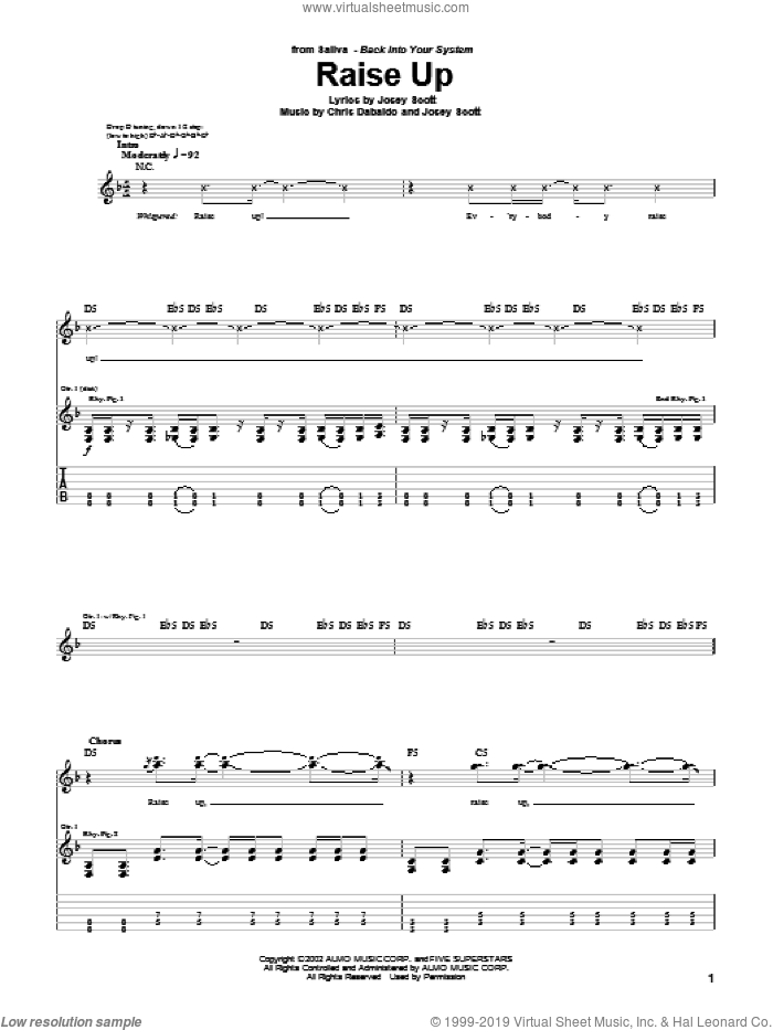 Raise Up sheet music for guitar (tablature) by Josey Scott. Score Image Preview.