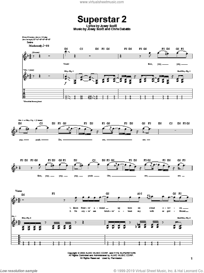 Superstar 2 sheet music for guitar (tablature) by Saliva, intermediate guitar (tablature). Score Image Preview.