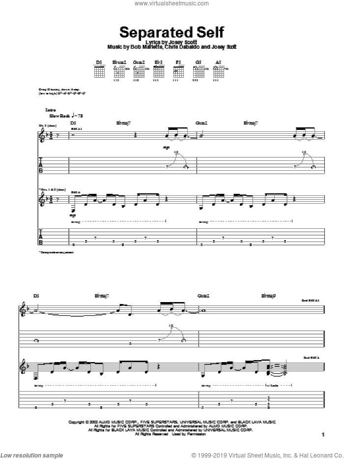 Separated Self sheet music for guitar (tablature) by Saliva, Bob Marlette, Chris Dabaldo and Josey Scott, intermediate skill level