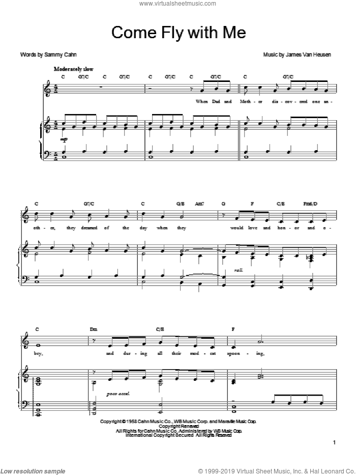 Come Fly With Me sheet music for voice, piano or guitar by Michael Buble, Frank Sinatra, Quincy Jones, Jimmy van Heusen and Sammy Cahn, intermediate skill level