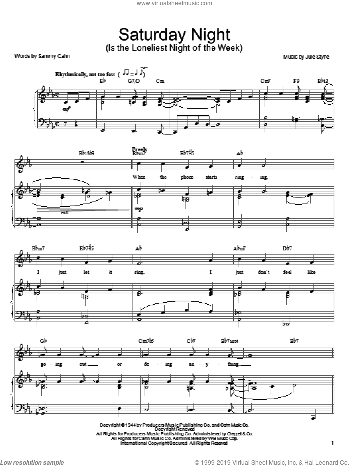 Sinatra - Saturday Night (Is The Loneliest Night Of The Week) sheet music  for voice, piano or guitar