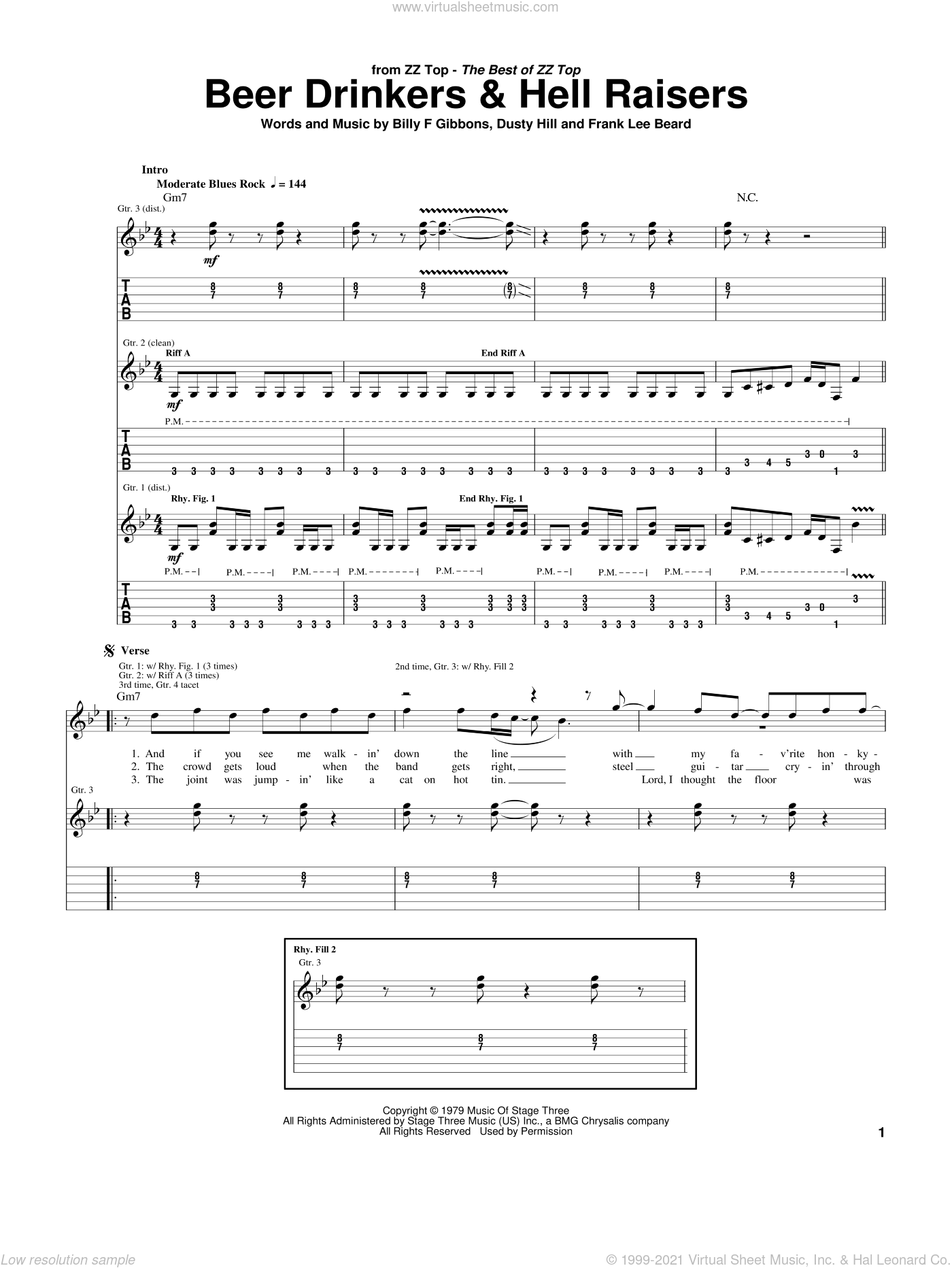 Beer Drinkers and Hell Raisers sheet music for guitar (tablature) by Frank Beard, ZZ Top, Billy Gibbons and Dusty Hill. Score Image Preview.