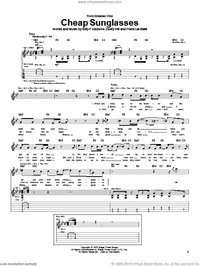 Cheap Sunglasses sheet music for guitar (tablature) by ZZ Top, Billy Gibbons, Dusty Hill and Frank Beard, intermediate skill level