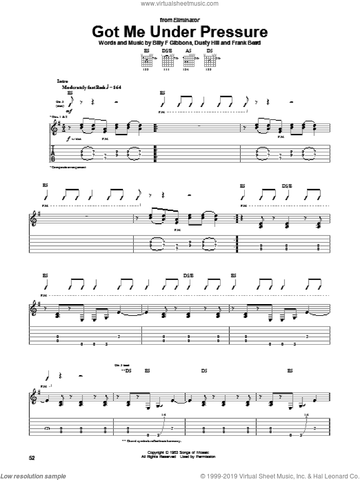 Got Me Under Pressure sheet music for guitar (tablature) by ZZ Top. Score Image Preview.