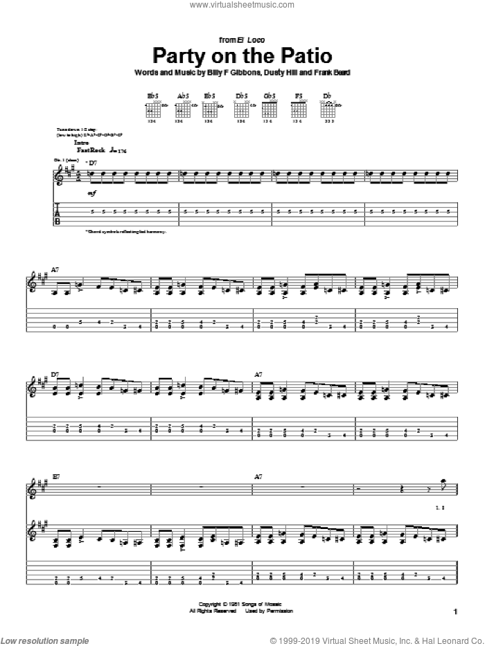 Party On The Patio sheet music for guitar (tablature) by Frank Beard, ZZ Top, Billy Gibbons and Dusty Hill. Score Image Preview.