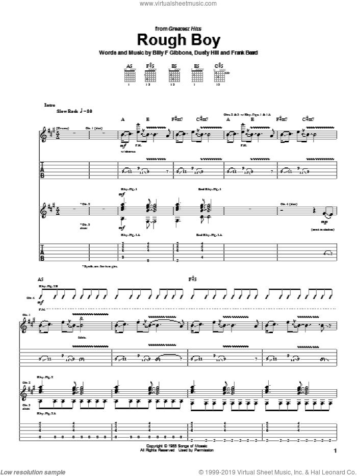 Rough Boy sheet music for guitar (tablature) by ZZ Top. Score Image Preview.