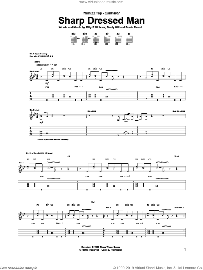 Sharp Dressed Man sheet music for guitar (tablature) by ZZ Top. Score Image Preview.