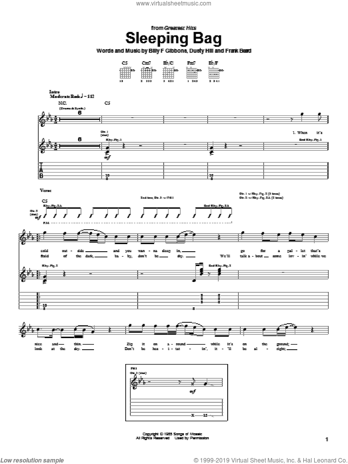 Sleeping Bag sheet music for guitar (tablature) by ZZ Top, intermediate guitar (tablature). Score Image Preview.