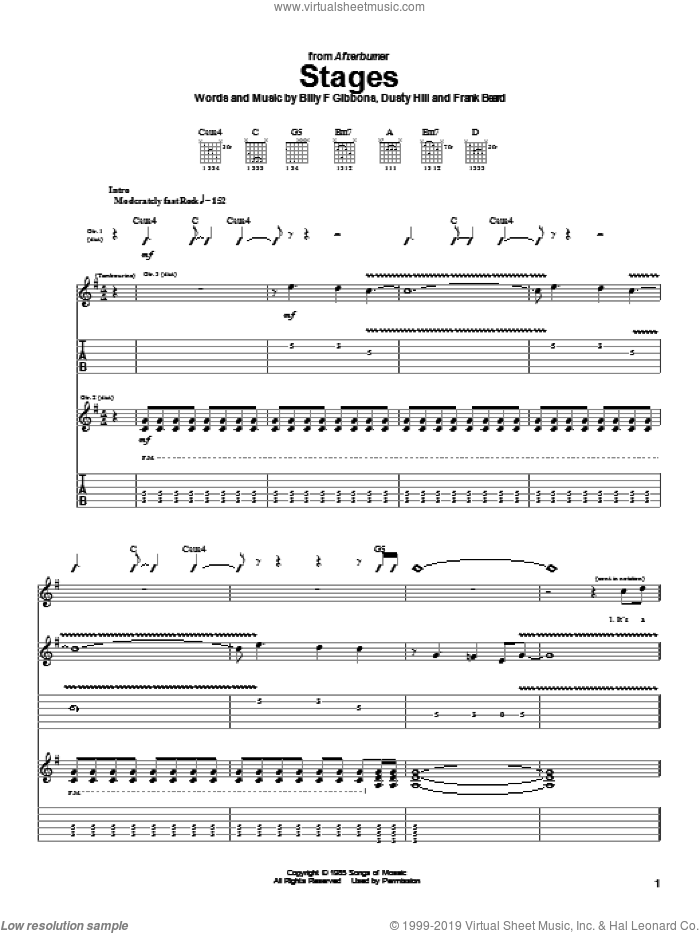 Stages sheet music for guitar (tablature) by ZZ Top, intermediate guitar (tablature). Score Image Preview.