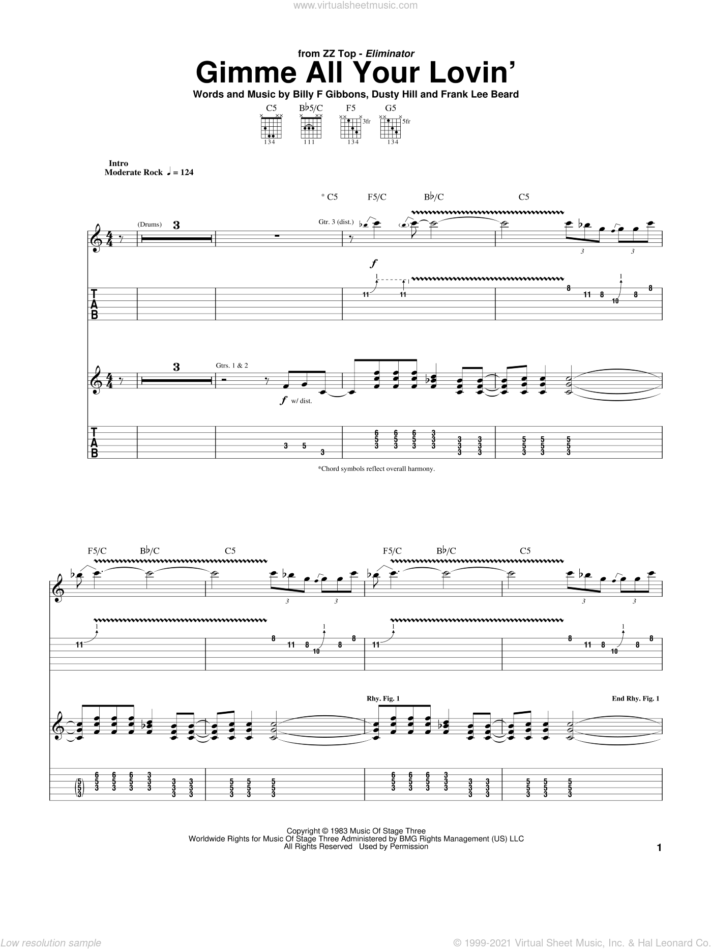 Gimme All Your Lovin' sheet music for guitar (tablature) by Frank Beard