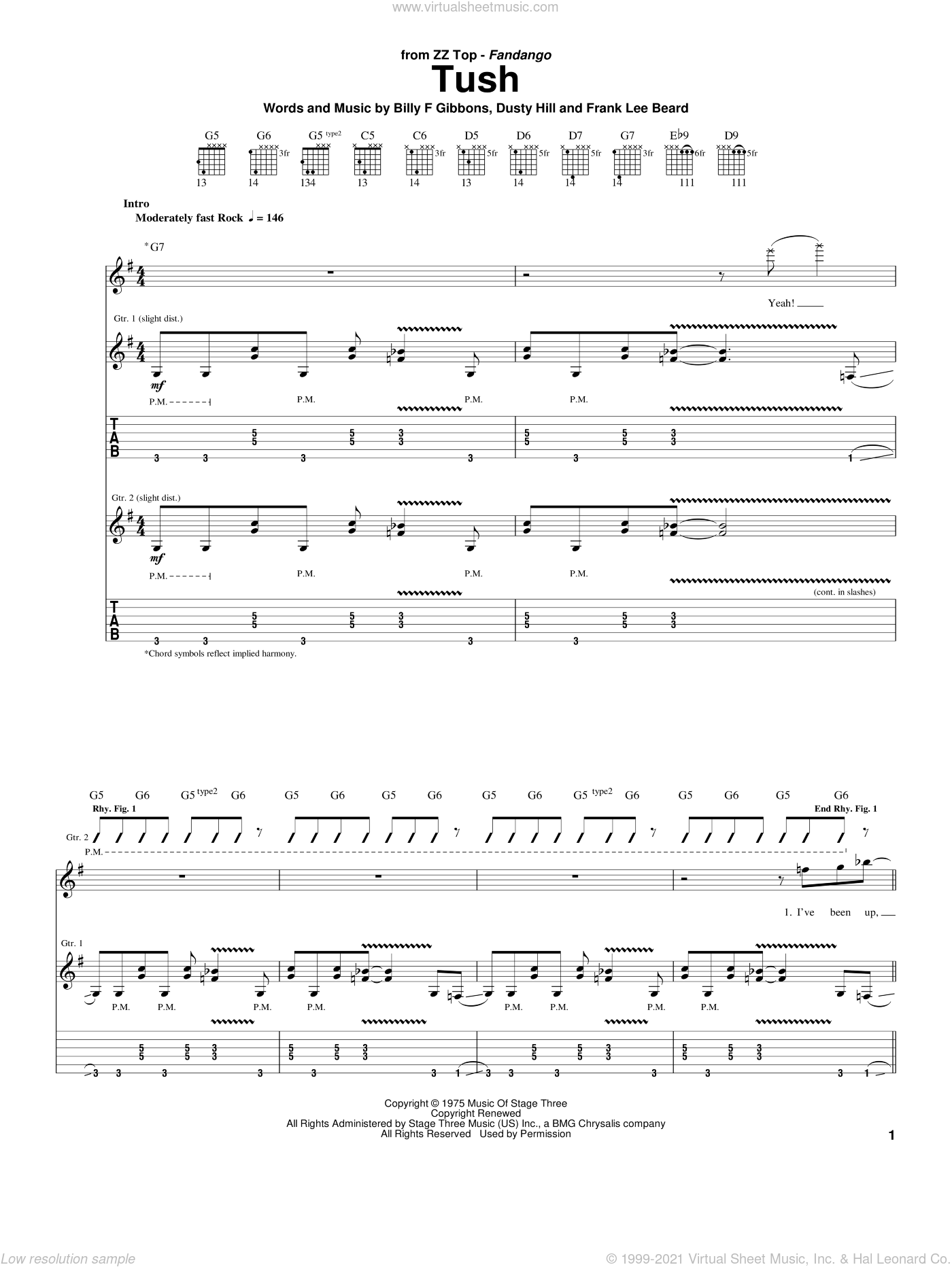 Tush sheet music for guitar (tablature) by ZZ Top, intermediate. Score Image Preview.