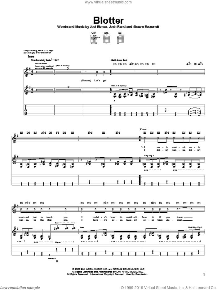 Blotter sheet music for guitar (tablature) by Shawn Economaki