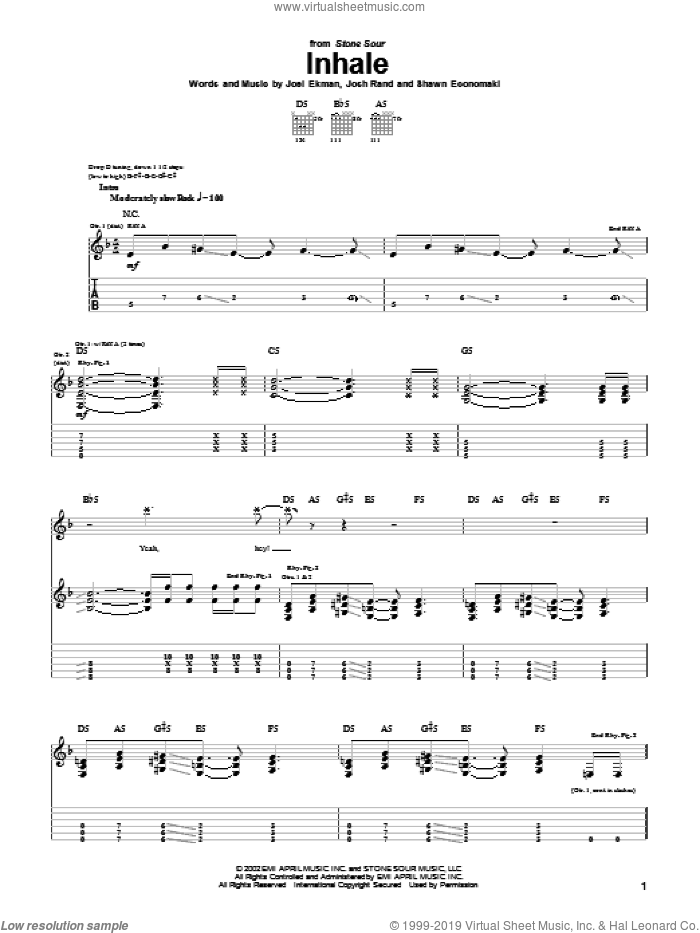 Inhale sheet music for guitar (tablature) by Shawn Economaki and Stone Sour. Score Image Preview.