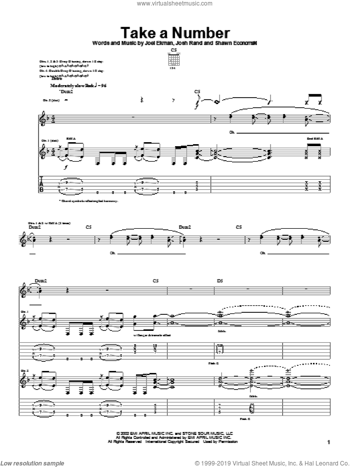 Take A Number sheet music for guitar (tablature) by Stone Sour, Joel Ekman, Josh Rand and Shawn Economaki, intermediate. Score Image Preview.