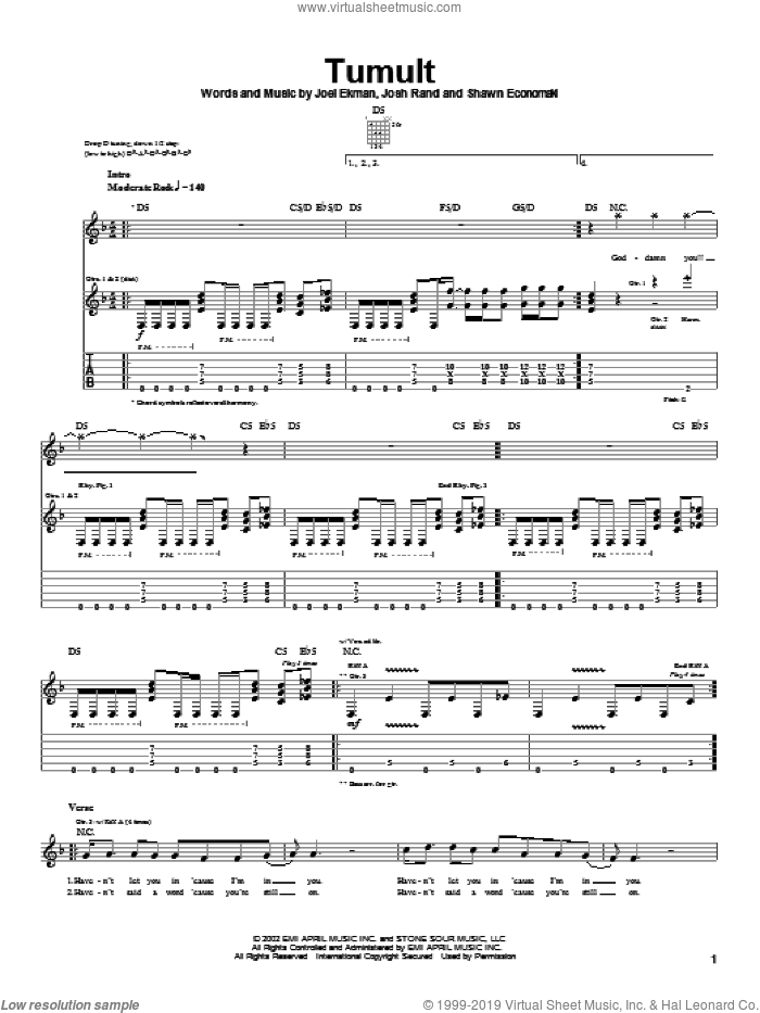 Tumult sheet music for guitar (tablature) by Shawn Economaki and Stone Sour. Score Image Preview.