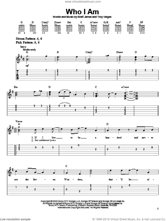 Who I Am sheet music for guitar solo (easy tablature) by Jessica Andrews, Brett James and Troy Verges, easy guitar (easy tablature). Score Image Preview.