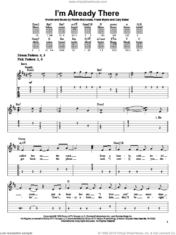 I'm Already There sheet music for guitar solo (easy tablature) by Richie McDonald