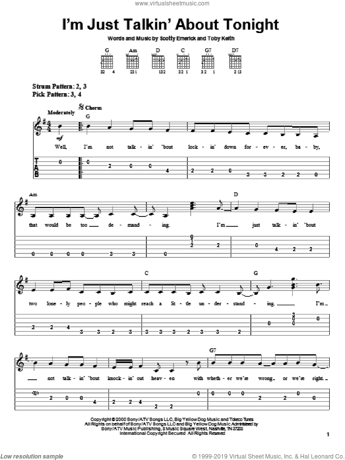 I'm Just Talkin' About Tonight sheet music for guitar solo (easy tablature) by Toby Keith and Scotty Emerick, easy guitar (easy tablature). Score Image Preview.