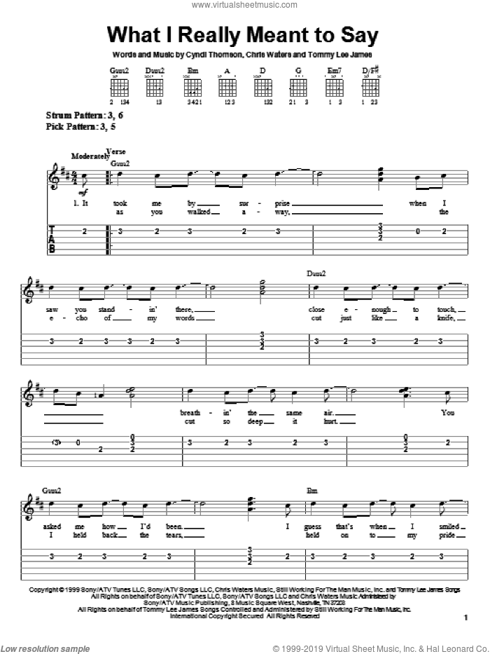What I Really Meant To Say sheet music for guitar solo (easy tablature) by Cyndi Thomson, Chris Waters and Tommy Lee James, easy guitar (easy tablature)