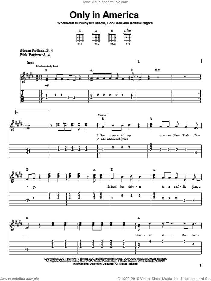Only In America sheet music for guitar solo (easy tablature) by Brooks & Dunn, Don Cook, Kix Brooks and Ronnie Rogers, easy guitar (easy tablature)