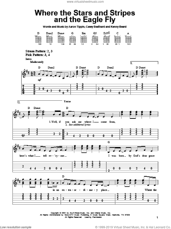 Where The Stars And Stripes And The Eagle Fly sheet music for guitar solo (easy tablature) by Aaron Tippin, Casey Beathard and Kenny Beard, easy guitar (easy tablature)