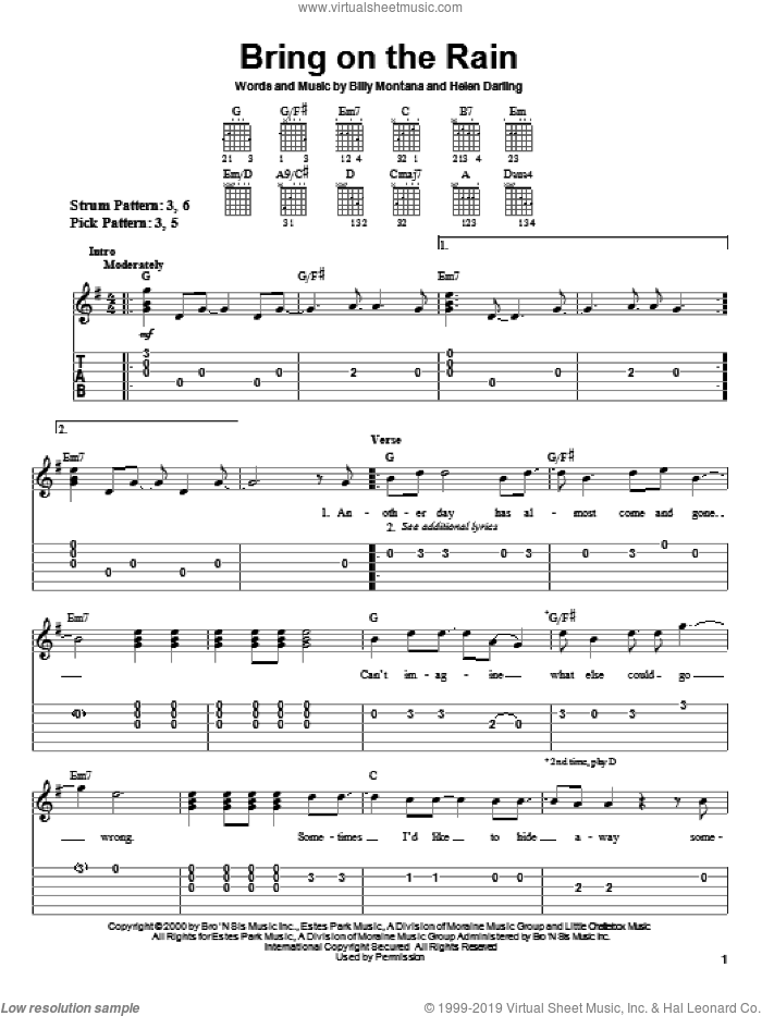 Bring On The Rain sheet music for guitar solo (easy tablature) by Jo Dee Messina, Tim McGraw, Billy Montana and Helen Darling, easy guitar (easy tablature)