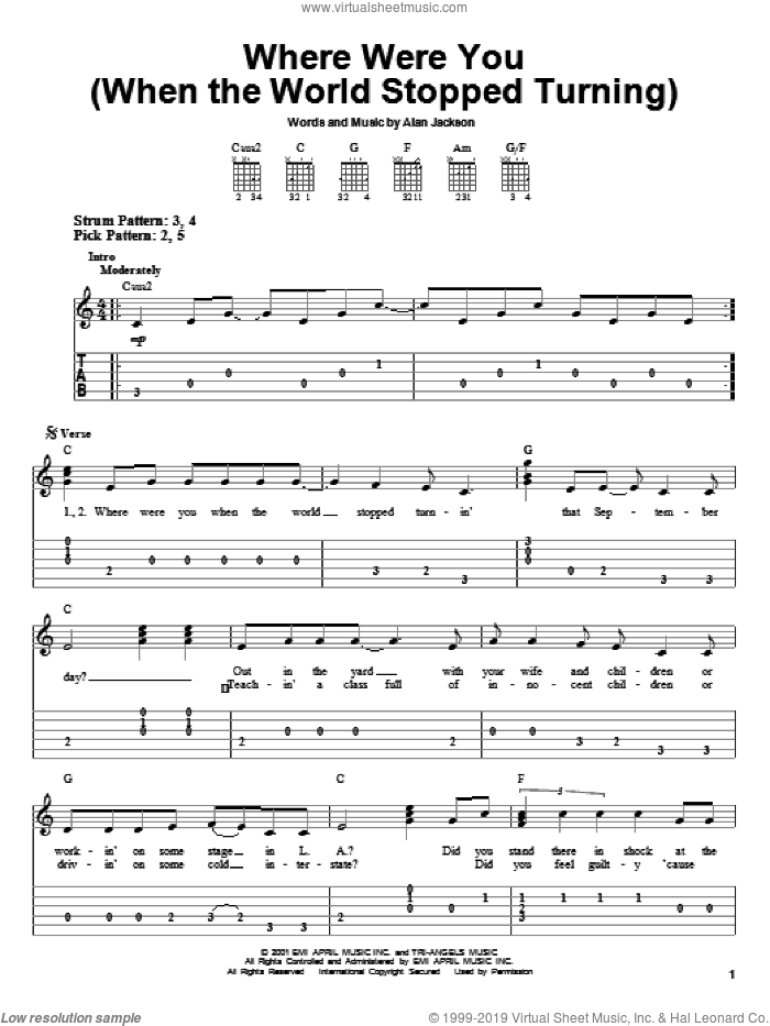 Where Were You (When The World Stopped Turning) sheet music for guitar solo (easy tablature) by Alan Jackson. Score Image Preview.