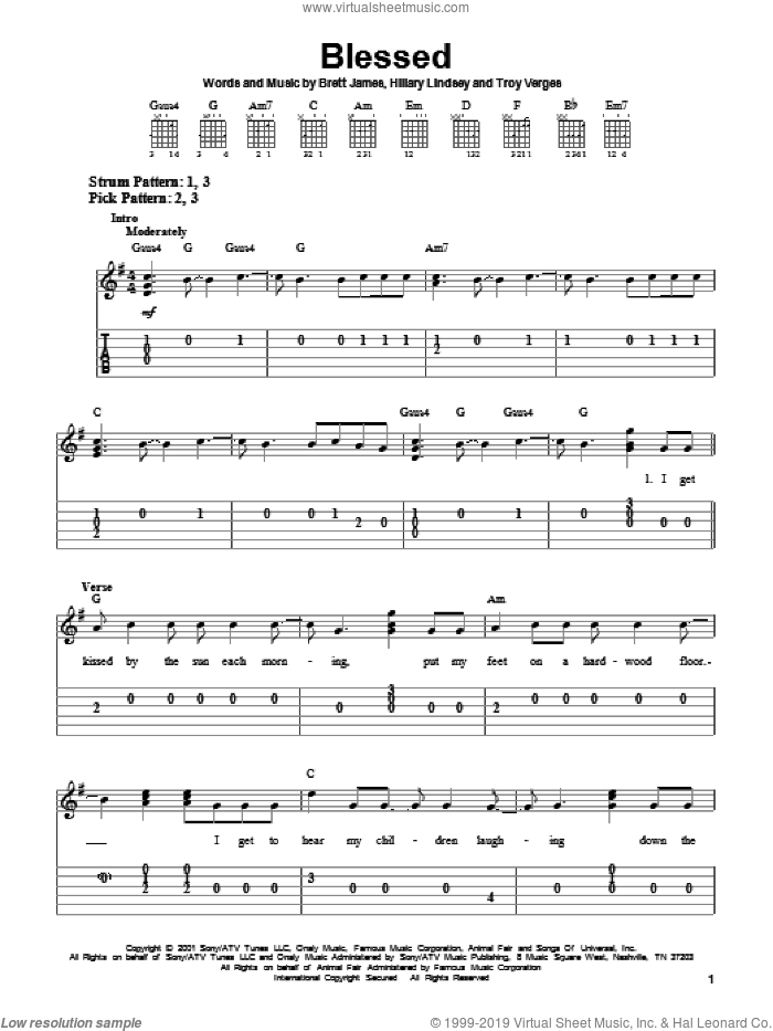 Blessed sheet music for guitar solo (easy tablature) by Martina McBride, Brett James, Hillary Lindsey and Troy Verges, easy guitar (easy tablature)