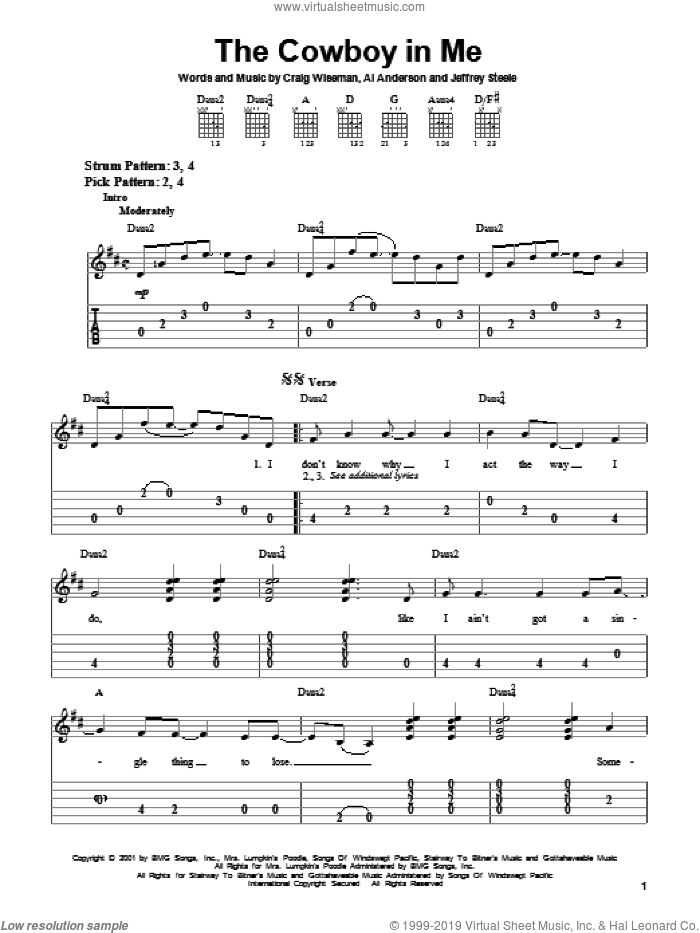 The Cowboy In Me sheet music for guitar solo (easy tablature) by Jeffrey Steele, Tim McGraw, Al Anderson and Craig Wiseman. Score Image Preview.