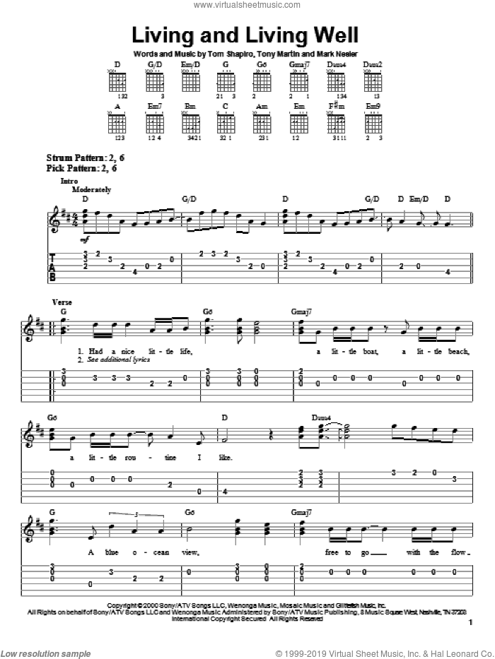 Living And Living Well sheet music for guitar solo (easy tablature) by Tony Martin, George Strait, Mark Nesler and Tom Shapiro. Score Image Preview.