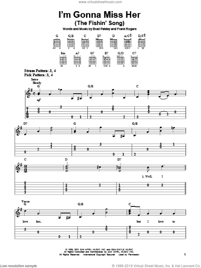 I'm Gonna Miss Her (The Fishin' Song) sheet music for guitar solo (easy tablature) by Frank Rogers and Brad Paisley. Score Image Preview.