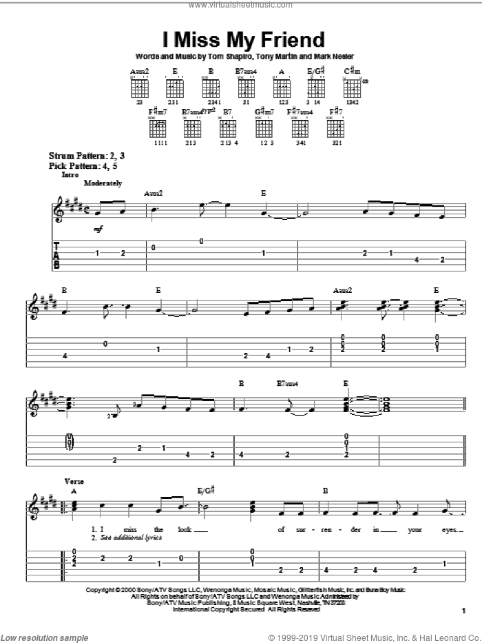 I Miss My Friend sheet music for guitar solo (easy tablature) by Tony Martin