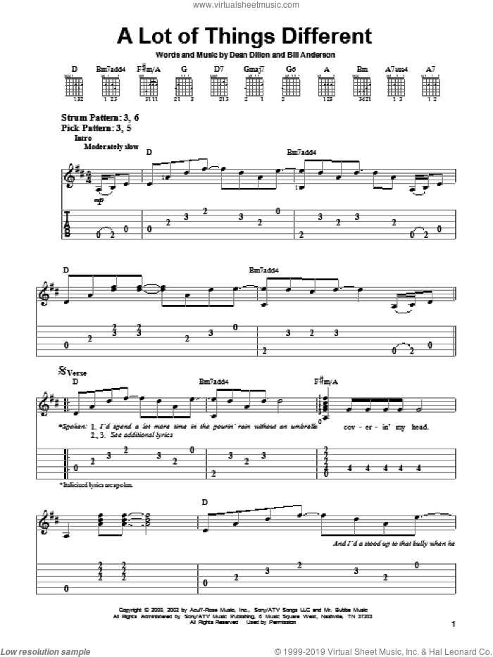 A Lot Of Things Different sheet music for guitar solo (easy tablature) by Kenny Chesney, Bill Anderson and Dean Dillon. Score Image Preview.