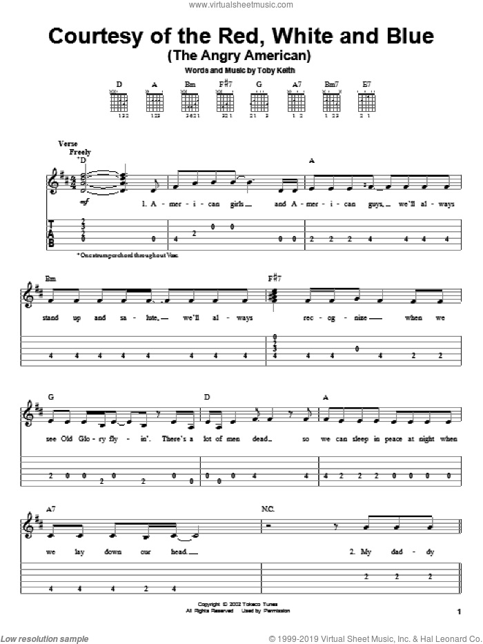 Courtesy Of The Red, White And Blue (The Angry American) sheet music for guitar solo (easy tablature) by Toby Keith, easy guitar (easy tablature)